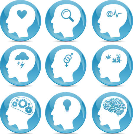 head profile icons with conceptual brain activities Stock Vector - 14987616