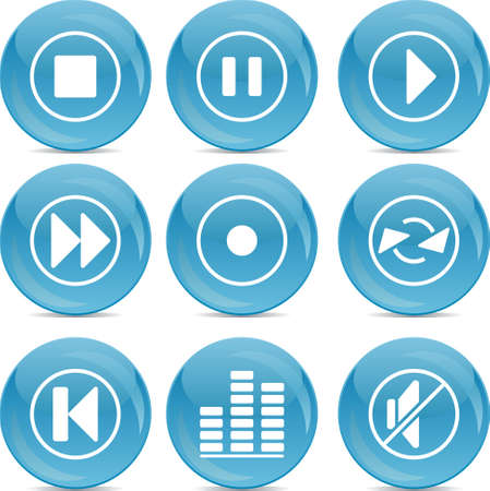 audio icons on blue shiny balls  Vector