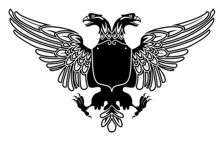 two headed eagle coat of arms with empty banner on its stomach  Vector