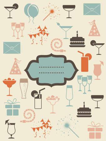 bouteille champagne: icônes rétro avec la bannière du parti