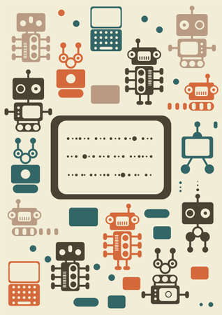 vintage robots set with banner  Vector