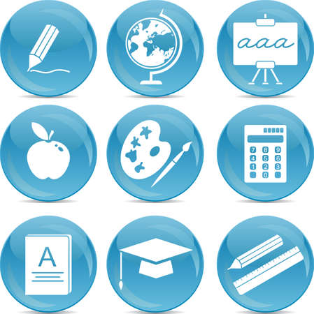 school icons on blue balls  Vector
