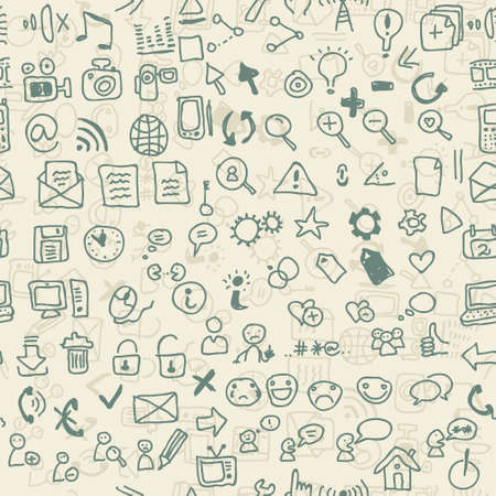doodle web media and social media icons  Vector