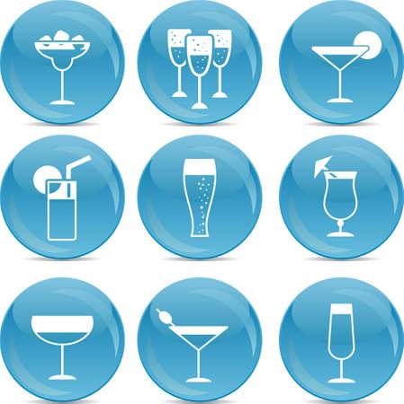 icônes des boissons sur les boules bleues Vecteurs