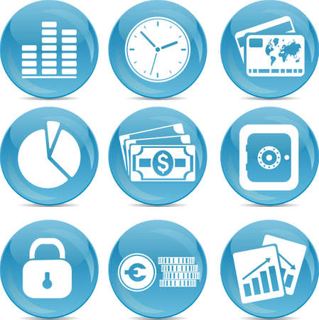 blue ball business icons Vector