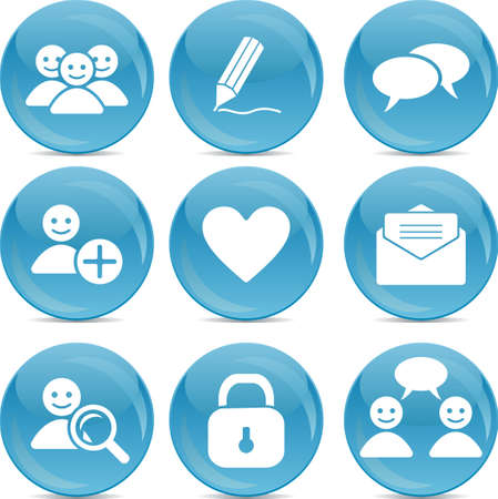 social communication web icons on blue balls Stock Vector - 14987655