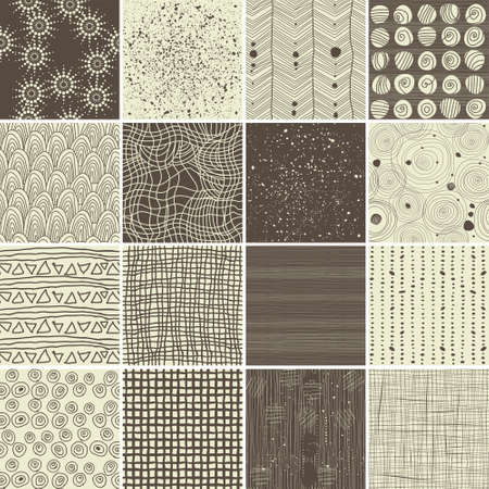 a set of 16 doodle seamless patterns and textures Vector