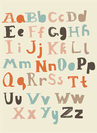 funky retro latin alphabet upper and lower cases  Illustration