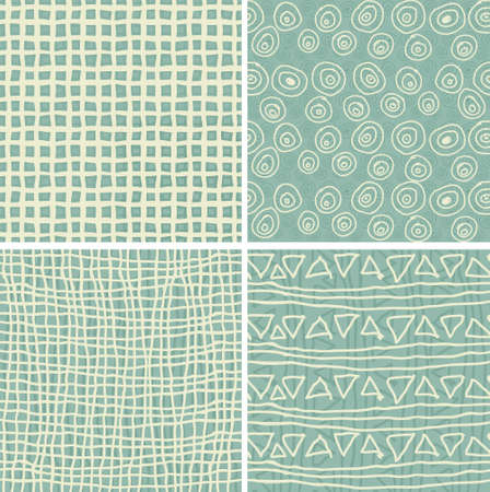 textile image: set of 4 retro seamless patterns in 3 colours  Illustration