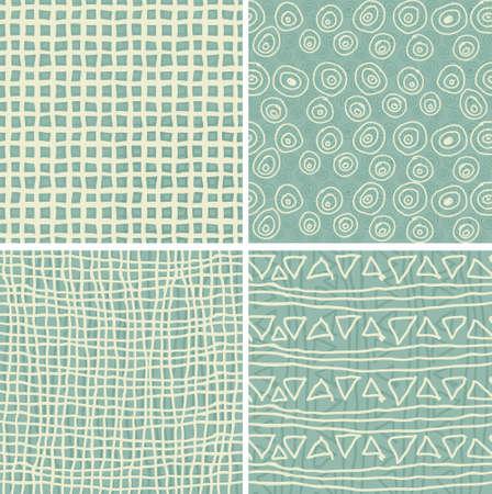 set of 4 retro seamless patterns in 3 colours Ilustração Vetorial