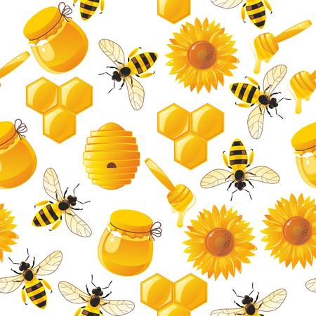 lively cartoon bees and honey seamless pattern Vector