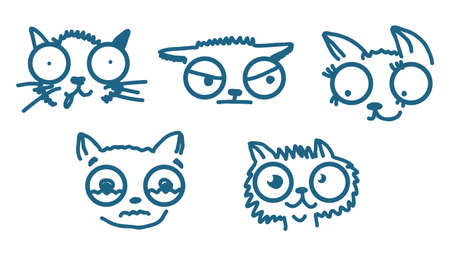 doodle cats isolated on white Vector