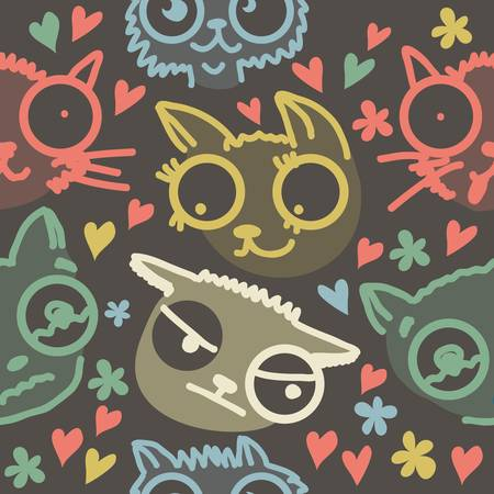 cute doodle cats seamless pattern  Vector