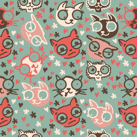 cute doodle cats seamless pattern  Stock Vector - 15007946