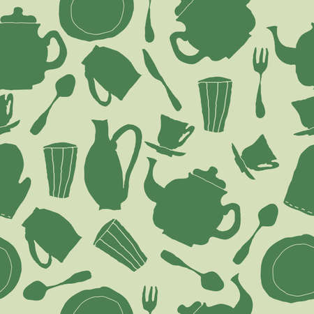 seamless kitchen glasses, teapots, forks and spoons in funky retro style Vector