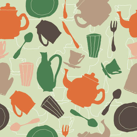 seamless retro tea pattern Vector