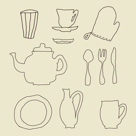 green tea cup: isolated doodle kitchen stuff