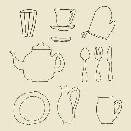 blue white kitchen: isolated doodle kitchen stuff