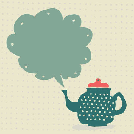 retro doodle teapot with steaming cloud as a frame for your text or image  Vector