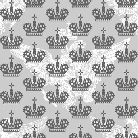 vintage victorian seamless pattern with crowns and eagle Stock Vector - 15007937