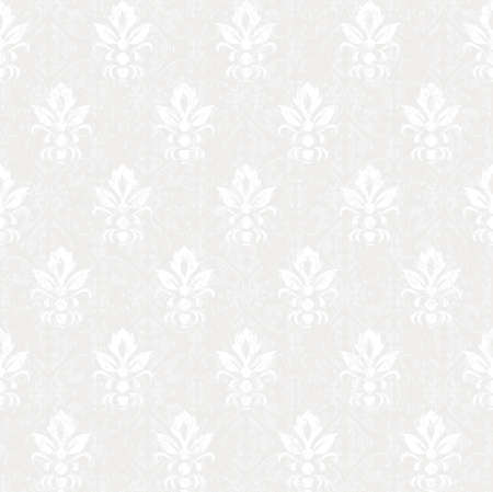 seamless damask: silver colored vintage seamless pattern  Illustration