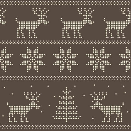 seamless nordic scandinavian jumper knit pattern Vector