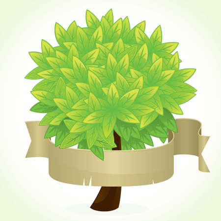 fresh green tree with empty paper banner for your ecological message  Vector