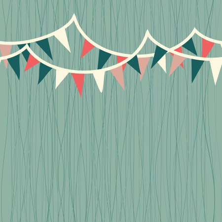 pennants: horizontal flags in retro blue, white and red seamless pattern