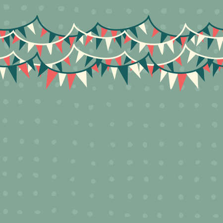 bunting flags: horizontal flags in retro blue, white and red seamless pattern