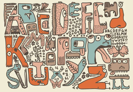 funky monsters doodle retro alphabet in english  Vector