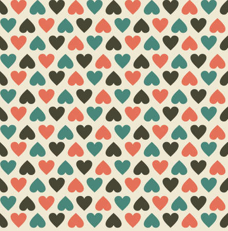 retro pattern: vintage hearts seamless pattern