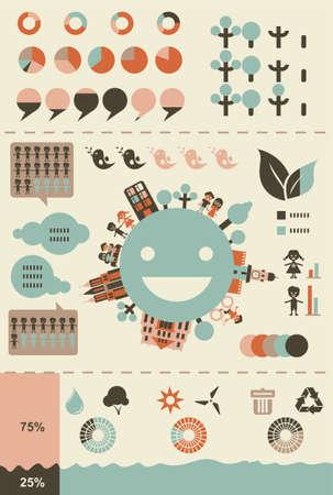 graphics: ecologische infographics en grafieken in retro kleuren