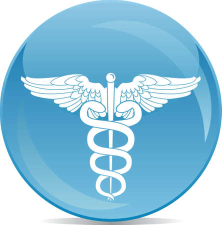 medical symbol: icon of pharmacy sign white silhouette on blue ball  Illustration