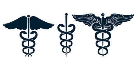 medical caduceus: Set of medical caduceus  Illustration