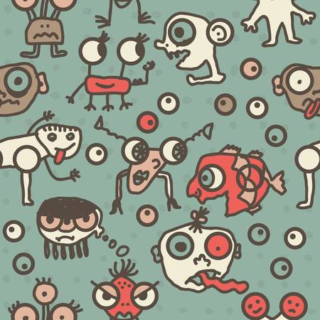 bacteria in heart: funky mosnters having fun cartoon seamless pattern  Illustration