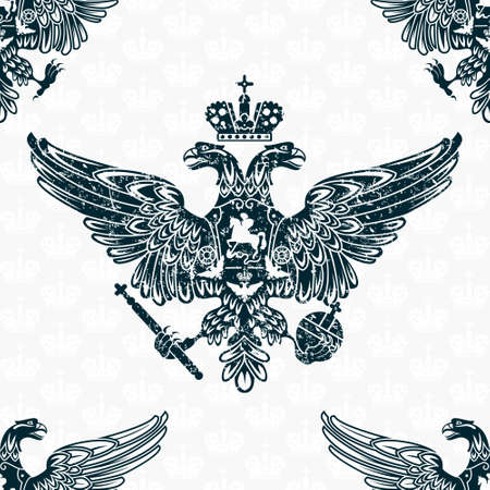 escudo de armas: �guila real seamless pattern Vectores