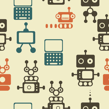 vintage bottle:  seamless pattern of retro robots