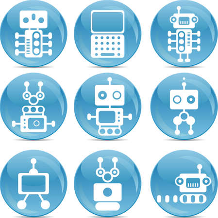 set of robot icons white silhouettes on blue shiny balls  Vector