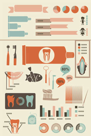 dental floss: teeth care infographics with icons banners and charts for your text
