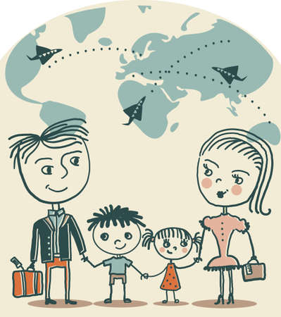 family vacations: couple traveling  Illustration
