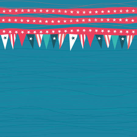 seamless pattern with flags with american colors and symbols in blue red and white