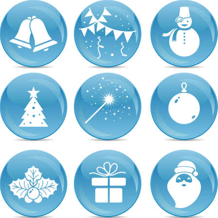 pine tree silhouette: chrismas icons on blue balls  Illustration