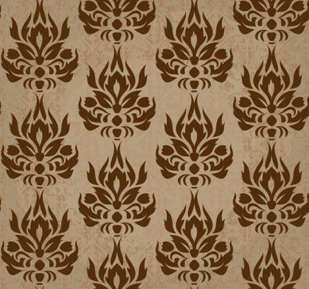 seamless retro damask pattern in brown  Illustration
