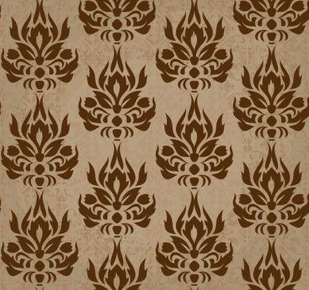 seamless retro damask pattern in brown  Illustration