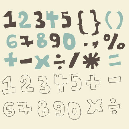 funky digits and set maths signs  Vector