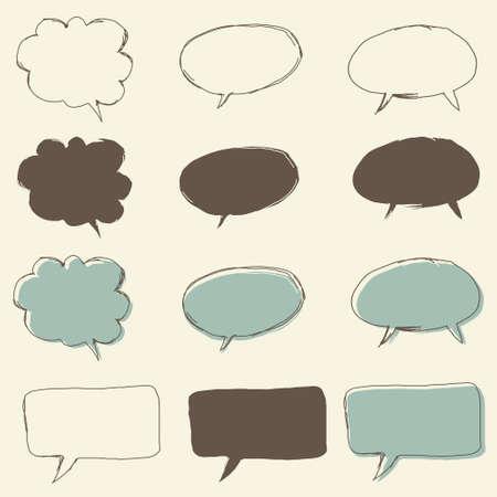 fleck: conjunto de discurso burbuja retro funky, para el di�logo Vectores