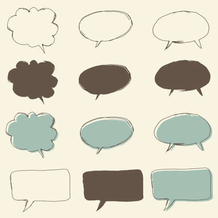 set of retro funky bubble speech, for dialog Stock Vector - 15899922