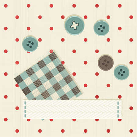 seamless polka dot fabric with banner  Vector