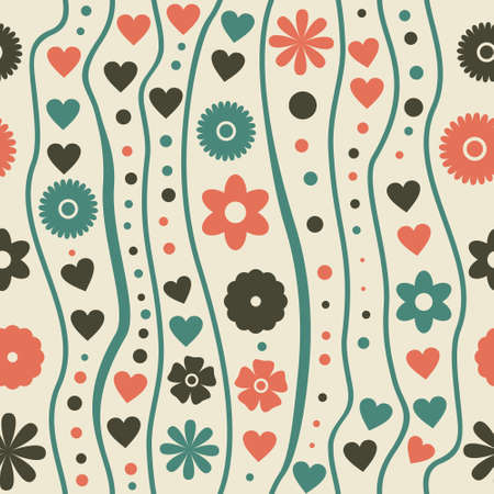 viewfinderchallenge1: seamless pattern with retro funky doodle flowers  Illustration