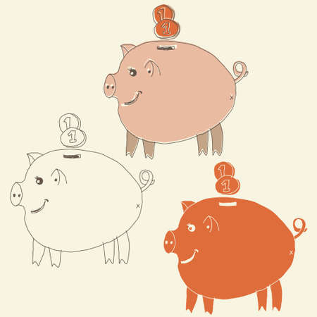 set of cartoon pig money boxes Vector